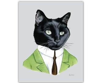 Mister Black Cat art print  - Nursery art - Pet Portrait - Animals in Clothes - Animal Art - Ryan Berkley Illustration 8x10