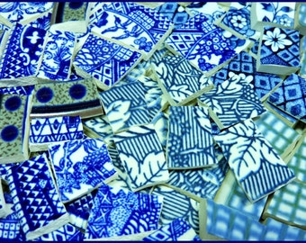 China Mosaic Tiles - HuGe ViNTaGE BLuE CoLLeCTiON - 230 recycled china plate tiles