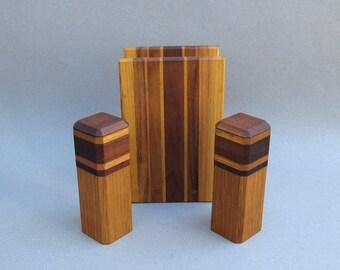 Vintage Inlaid Wood Salt & Pepper Shakers Matching Napkin Holder 1980s Handmade Three Piece Set