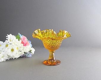 Vintage Yellow Hobnail Compote, Stemmed Bowl, Yellow Hobnails, Candy Dish, Nut Bowl, Yellow Hobnail Bowl