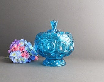 Vintage Large Blue Bowl, Moon and Star Dish, Anniversary Jar, Blue Glass Dish, Blue Covered Bowl