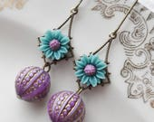 75% Off Price Sale- Boho Daisy Earrings with Vintage Glass Beads