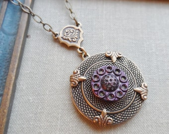 Antique Button Necklace, Purple Tint, Mother of Pearl Button Base, Victorian Button, Antique Brass, Timeless Trinkets