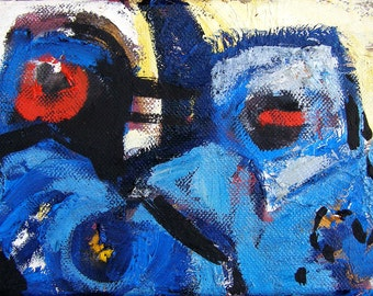 Bluehairs 5x7 abstract oil painting urban expressionism