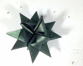 Handmade Froebel Star / Moravian Star / Christmas Star / Christmas Tree Ornament / Origami Star / Paper Star - dark green metallic - small