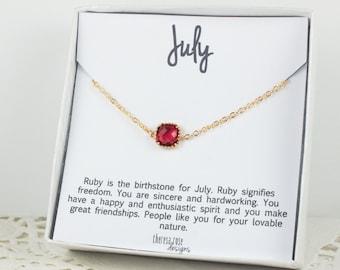 July Birthstone Gold Bracelet,  Ruby Gold Bracelet, July Birthday Bracelet, Gold Bracelet, July Birthday Bracelet, Gifts Under 20