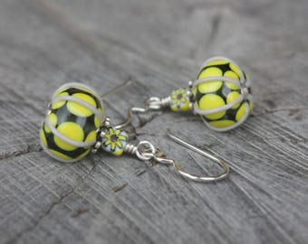 Yellow Gray Summer Lampwork Earrings