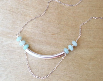 Necklace - Amazonite and Sterling Silver Tube