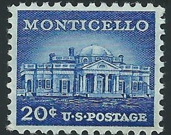 Pack of Ten 20c Monticello issue of 1956 .. Vintage Unused US Postage Stamp | Thomas Jefferson | Charlottesville, Virginia | Wine Country