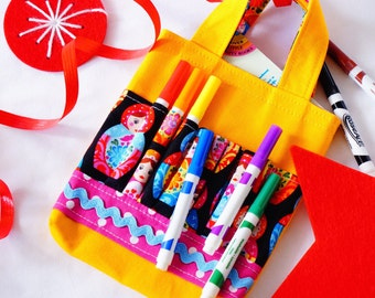 Crayon Tote • Crayon Bag • Coloring Bag • Art Tote • Crayon Holder • Crayon Roll • Flower Girl • Busy Bag • ARTOTE MINI • Little Matryoshka