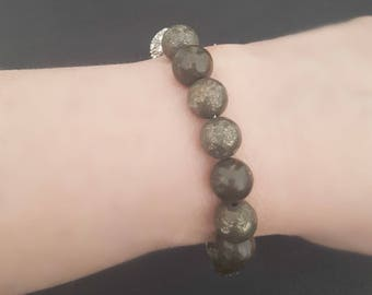 Pyrite Bead Bracelet, Pyrite Jewelry, Magnetic Clasp, Crystal Bead, Earth Tone, Neutral Bead Color, Stack Bracelet, Olive Green Brown