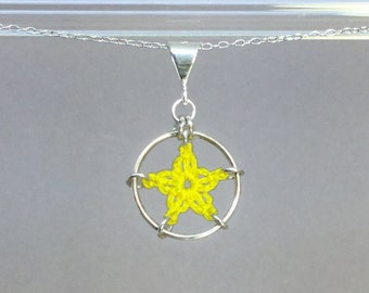 Stars, yellow silk necklace, sterling silver