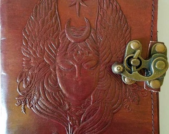 Moon Goddess leather blank book w/ latch-BOS, Book of Shadows, Blank Journal, Leather Blank Journal, Altar Tools, Witch Tools for spells,