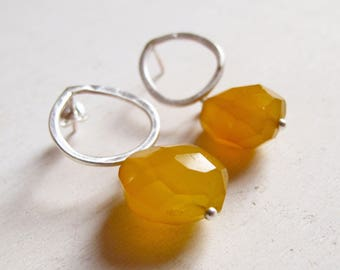 Yellow Chalcedony, sterling silver, post earrings, mustard earrings, mustard gemstone, handmade jewelry, yellow and silver,gemstone earrings