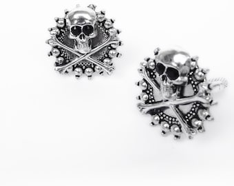 Silver Skull Cufflinks Rocker Jewelry gift for him goth husband boyfriend
