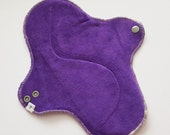 Organic Bamboo Velour Mama Cloth Pad With Wings .. 10 inches  .. Deep Purple OBV FREE Shipping