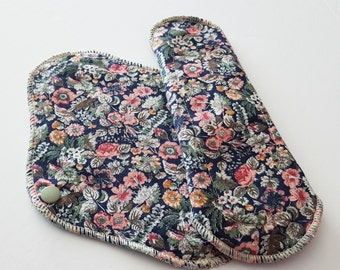 Set of 2 Cloth Mama Pads Pantyliners 8 inch - Vintage Printed Cotton Cloth Pads FREE Shipping