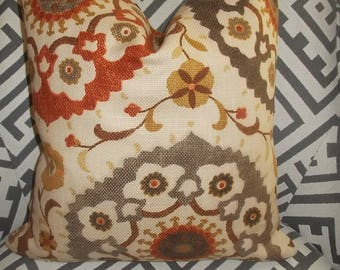 Suzani Medallion Pillow Cover Brown Tan Burnt Orange Grey Morocaan pillow cover