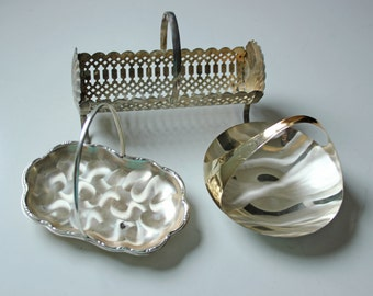 3 vintage serving plate dishes -  silverplate cracker holder - candy dish -  Ikora Germany