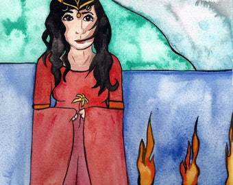 Journey To Avalon Original Painting Celtic Mythology Goddess Art Goddess Illustration Spiritual Art Fantasy Art Watercolor Painting