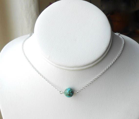 Sterling Silver Choker Necklace With Turquoise Bead