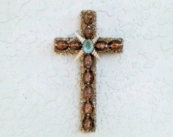Cross with Seashells, Wall Cross Brown and Turquoise, Shell Crucifix, Religious Christian Gift, Priest Minister Gift, Seashell Crucifix