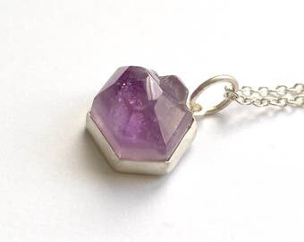 Amethyst Crystal Nugget Pendant in Sterling Silver