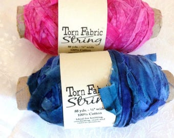 TWO Torn Fabric String Yarn Pink Blue Tie Dye Made in India Fabric Ribbon