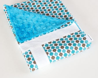 Small Patchwork Blanket with Minky for Baby Boy Alphabet Soup Blue Beads