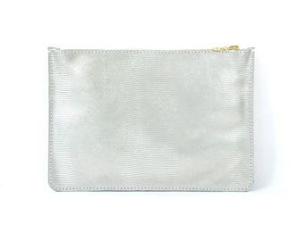 Coralie - Handmade Silver Iridescent Leather Clutch Bag Zip Pouch Purse SS16