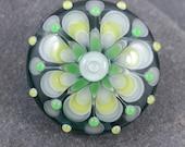 Evergreen lampwork mandala focal bead