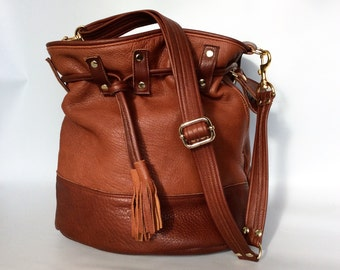 Leather bucket bag No. 013 in 2 tone saddle brown
