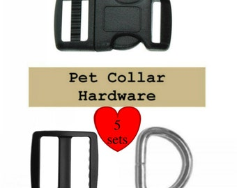 "5 SETS - 1"" - Dog Collar Kits, 1 inch, Wide mouth, 15 Pieces - BLACK or WHITE - With or With Out Keepers"