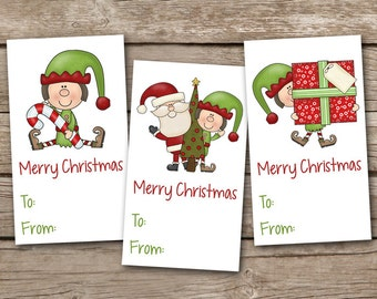 Printable Christmas Gift Tags, INSTANT DOWNLOAD, Elf Gift Tag, Santa Gift Tag, Elf Sticker, Santa Sticker, Holiday Gift Tag, Holiday Sticker