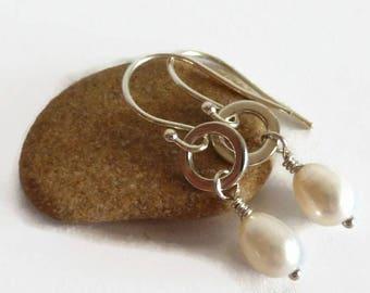 Pearl Silver Earrings - Freshwater Pearls - White Silver Earrings - Wire Wrapped Earrings - June Birthstone - Pearl Earrings -