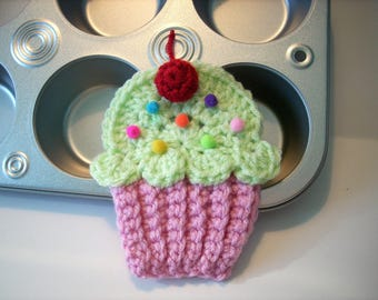 Cupcake applique Lot of 4 pink cake pistachio green frosting red cherry crochet use on hats headbands make into birthday party banner