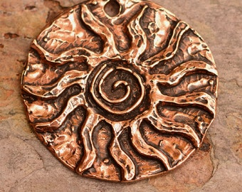 Big Sacred Spiral Sun Pendant in Copper Bronze, PN-327
