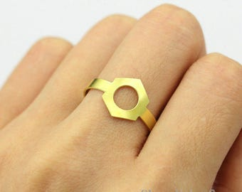 2pcs Raw Brass Hexagonal Ring, Simple Ring, Adjustable Geometry Brass Rings - TR039