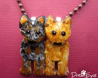 Australian Cattle Dog Blue and Red Pendant. Artist Hand-made Dog Art Jewelry Heeler Necklace. C4