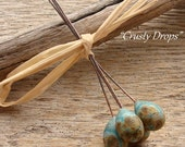 CRUSTY DROPS - Crusty Handmade Lampwork Headpins - Earring Pairs - 4 Headpins