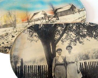 Antique Oval Photographs, Black White Portraits, Farmhouse Landscape, Fine Art Photography, Tinted Photo, Sepiatone Photo, Victorian Women