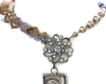 Assemblage Jewelry -  Assemblage Necklace -  Boho Necklace - Rhinestone Necklace - Photo  Charm Necklace - Soldered Jewelry