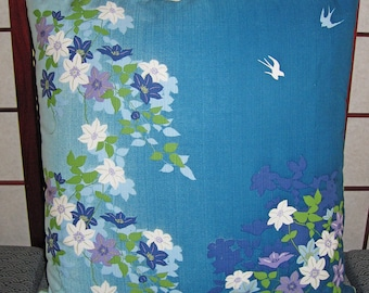 Swallows and Vines Design Zippered Japanese Furoshiki Pillow Cover Blues