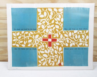 Vintage Abbey Press Paper Kitchen Placemats Set Christian Cross Religious Prayer Aqua & Gold