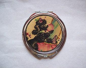 poodle compact mirror retro 1950's vintage purse mirror rockabilly kitsch