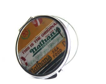 Makeup Mirror, Purse Mirror, Novelty Mirror, Round Mirror, NYC Gifts, Coney Island, Brookyln Gifts,Gift for Her, Mother's Day Gift, Nathan's