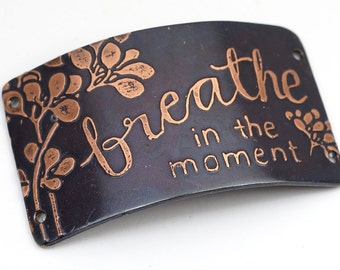 Breathe in the moment bracelet bar component, large rectangular 4 hole etched copper link, 2 inches x 1 1/8 inches