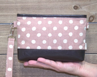 iPhone Wallet Wristlet For iPhone 7 Plus Crossbody, Samsung Galaxy Note, S6 S7 Edge, Cell Phone Purse Clutch, Card Slots / Blush Linen Dots