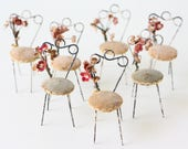 Vintage Miniature Chairs, Wire Chairs with Millinery Flowers
