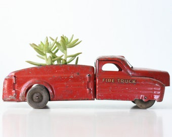 Vintage Toy Fire Truck, Buddy L, Pressed Steel Red Truck, 1930s
